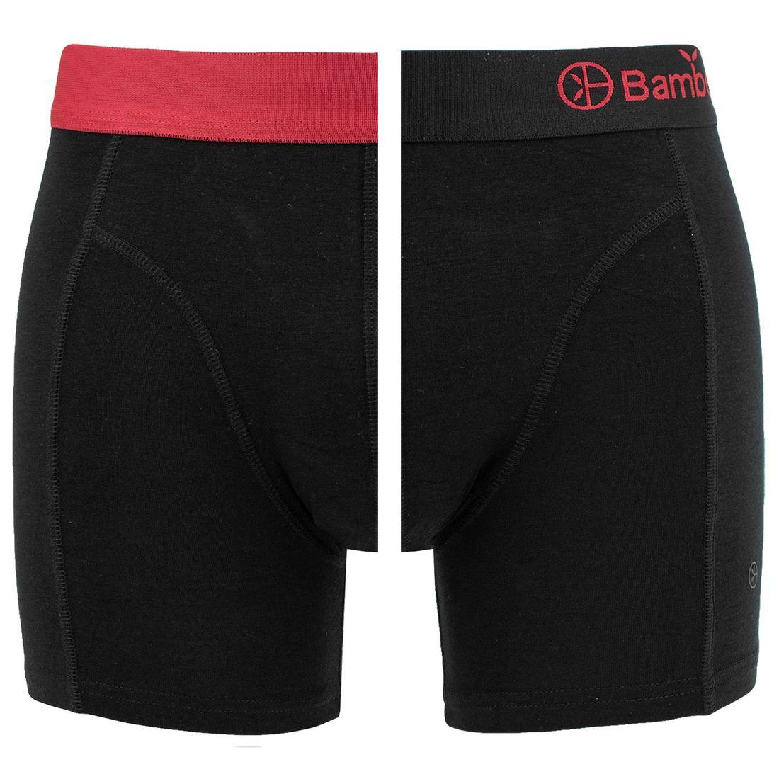 Afbeelding van Bamboo Basics boxers levi 2 pack zwart & rood heren