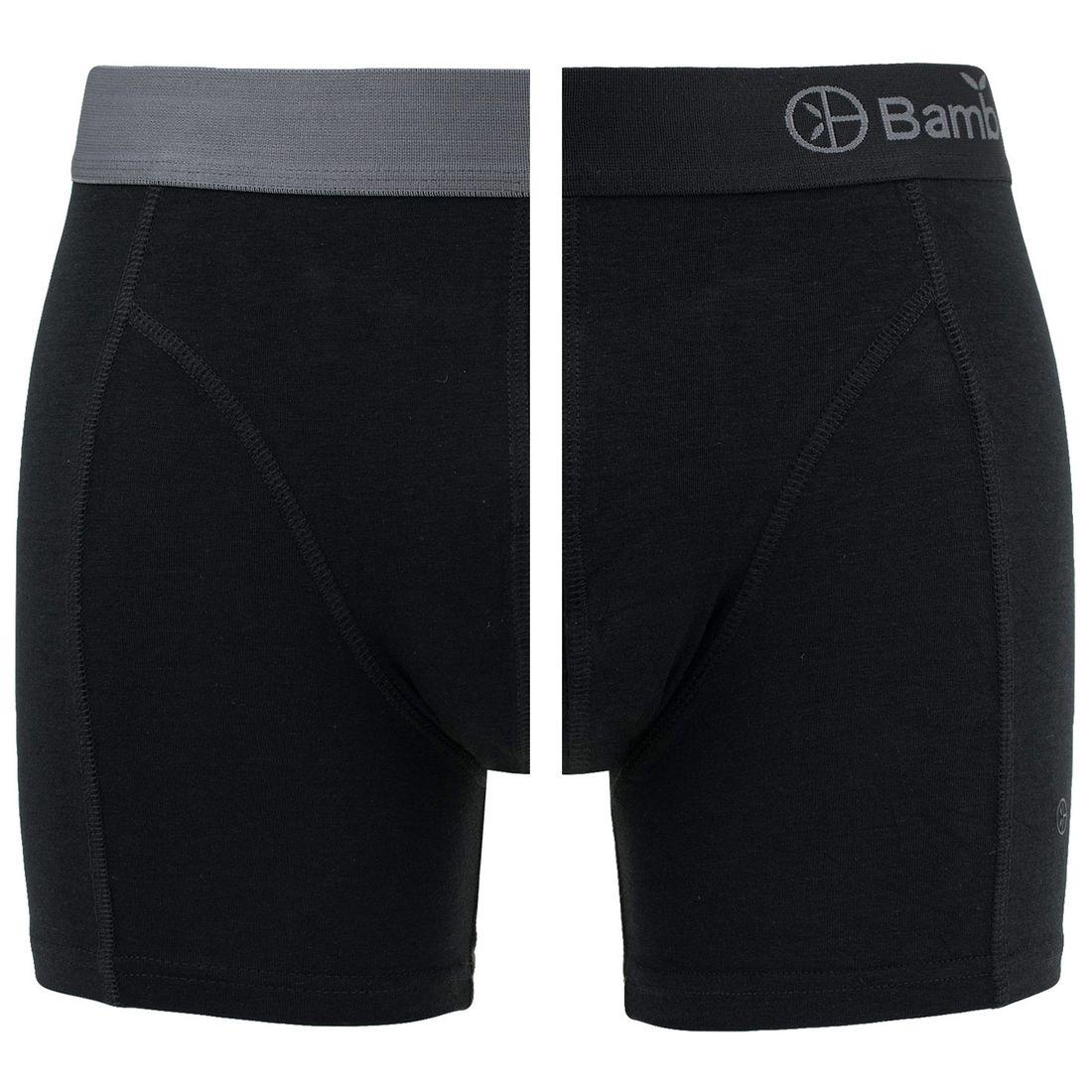 Afbeelding van Bamboo Basics boxers levi 2 pack zwart & grijs heren