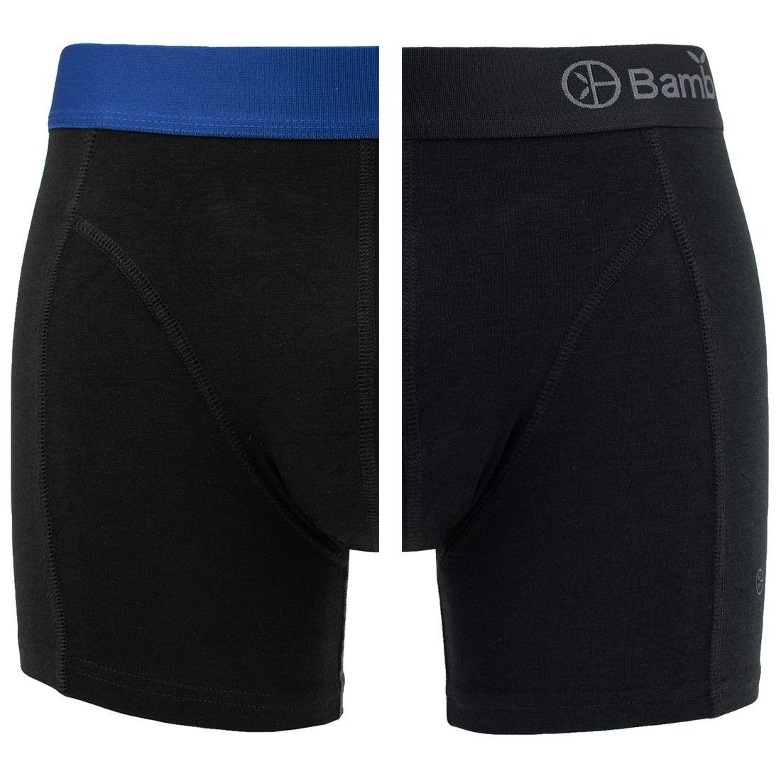 Afbeelding van Bamboo Basics boxers levi 2 pack zwart & blauw heren