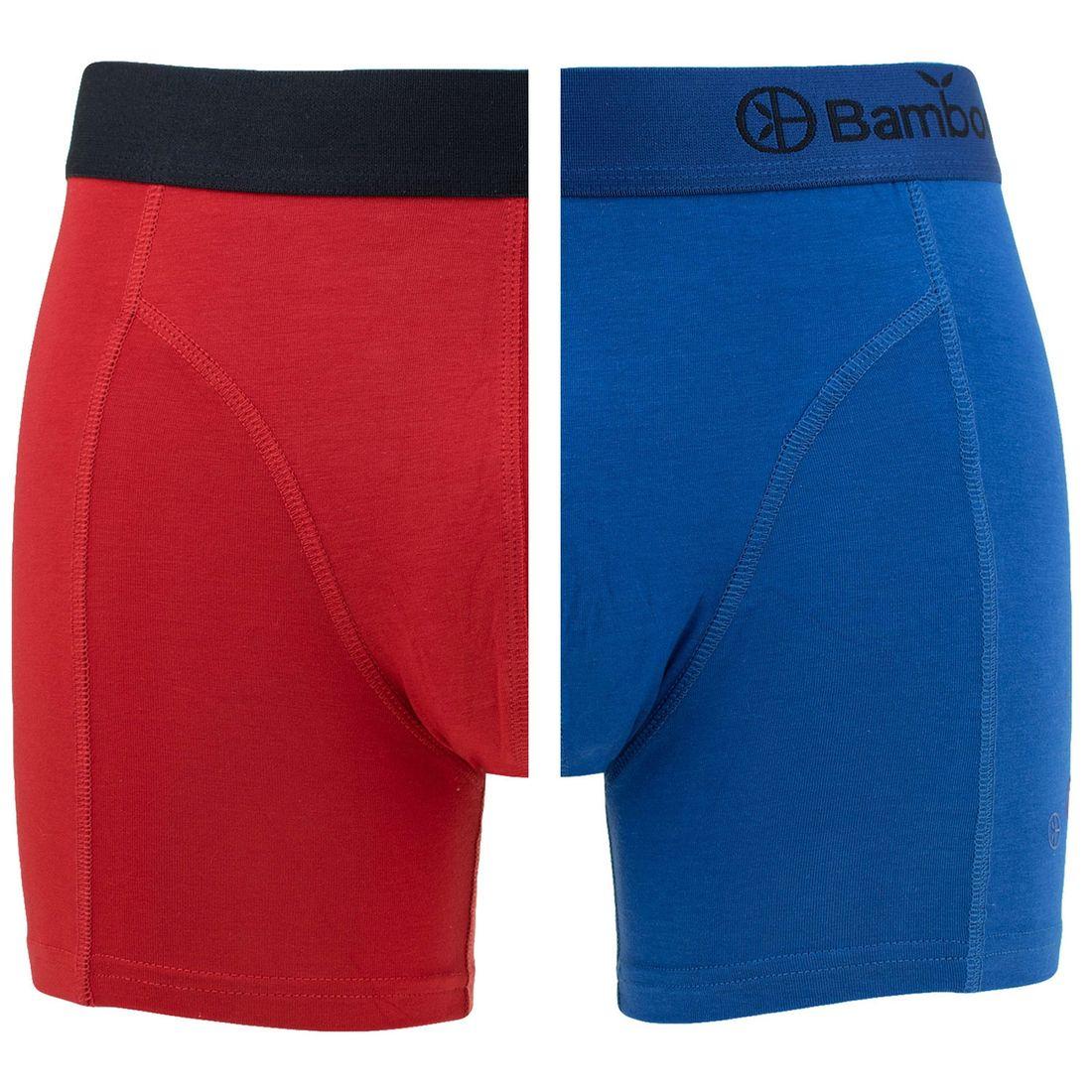 Afbeelding van Bamboo Basics boxers levi 2 pack rood & blauw heren