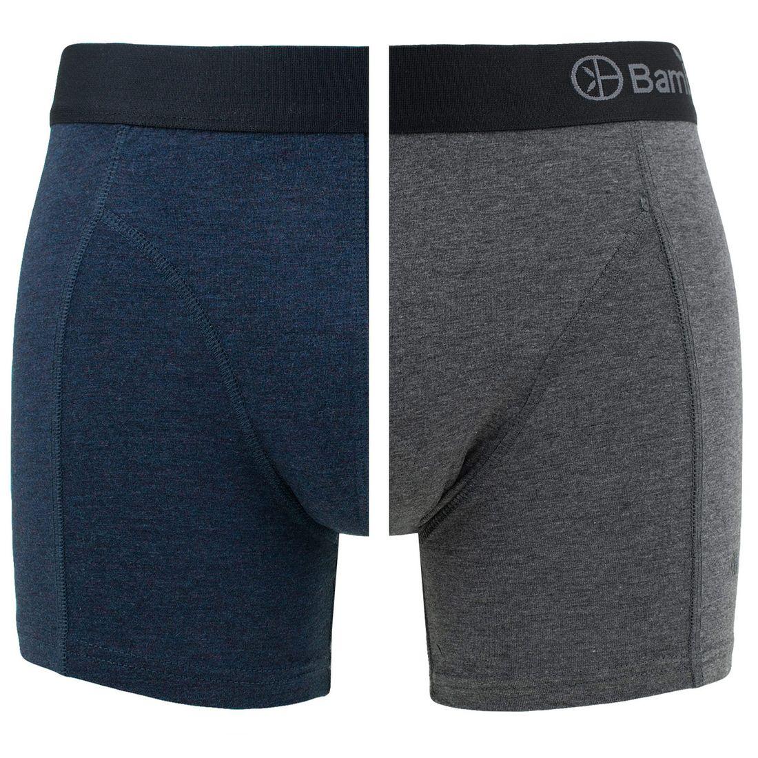 Afbeelding van Bamboo Basics boxers levi 2 pack blauw & grijs heren