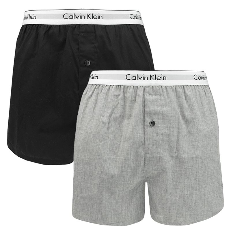 Afbeelding van Calvin Klein 2 pack slim fit boxer black & grey heren