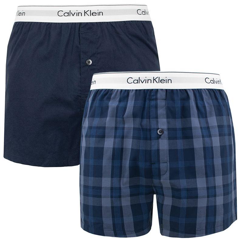 Afbeelding van Calvin Klein 2 pack slim fit boxer plaid & blauw heren wijd