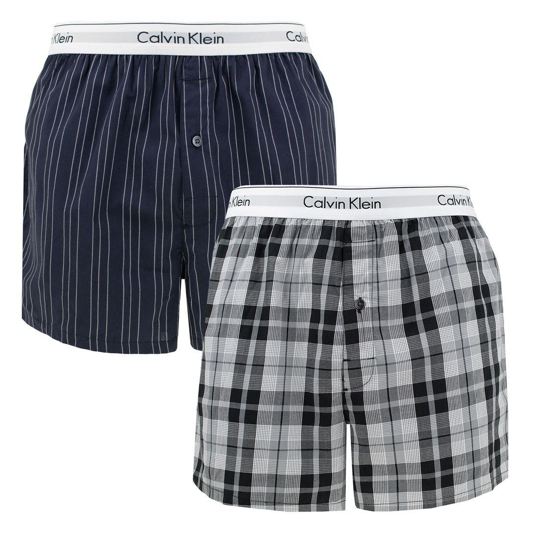 Afbeelding van Calvin Klein 2 pack slim fit boxer stripe & plaid heren