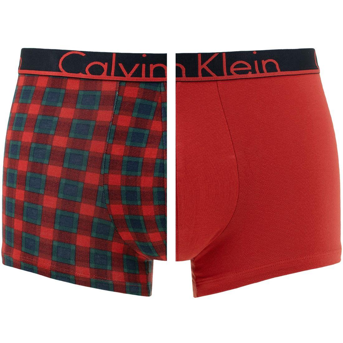 Afbeelding van Calvin Klein 2 pack trunks madison check & rood heren