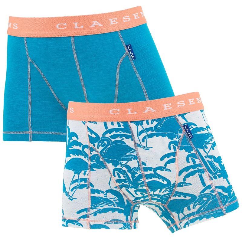 Afbeelding van Claesens boxers jongens 2 pack flamingo blue