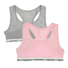 meisjes bralette 2-pack roze & grijs