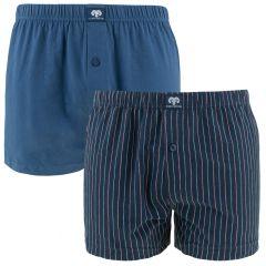 2-pack wijde boxers gestreept blauw