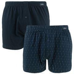 2-pack wijde boxers geruit minipatroon blauw