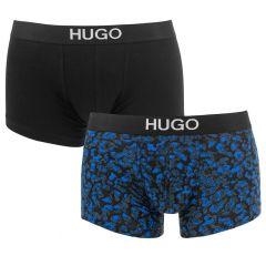 HUGO brother 2-pack trunks noise blauw & zwart