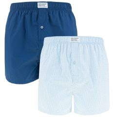 gingham check woven boxers 2-pack blauw