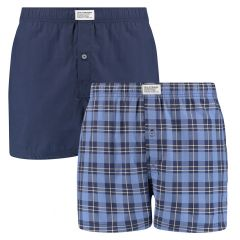 block stripe woven boxers 2-pack blauw