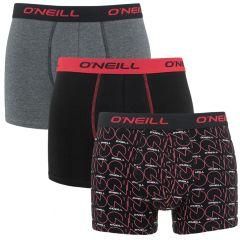 boxers 3-pack logo & plain zwart & grijs