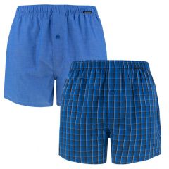 woven boxers 2-pack ruit & blauw II