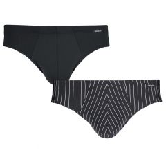brasil microfiber herenslips 2-pack everyday stripe zwart