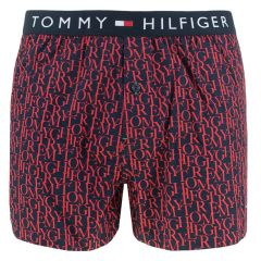 woven boxer letter print rood & blauw