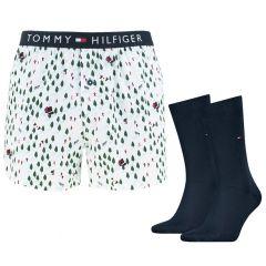 happy holiday giftbox woven boxer & sokken multi
